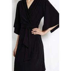 Black Flare Sleeve Wrap Dress (€24) ❤ liked on Polyvore featuring dresses, black, black bell sleeve dress, pencil dress, wrap dress, black wrap dress and sleeve wrap dress