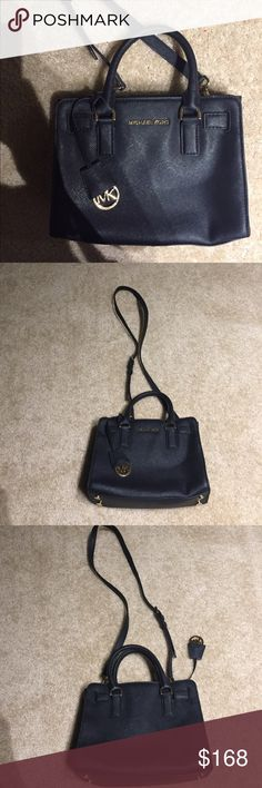 Michael Kors Small Saffiano Leather Dillon Satchel Used but well preserved 7/10, dimensions 10 by 7.5 by 3.25 inches, long strap drop is 22 inches but has an adjustable buckle Michael Kors Bags Mini Bags
