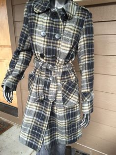 Women's Kensie Double Breasted Long Plaid Belted Wool Jacket Size 10 | eBay