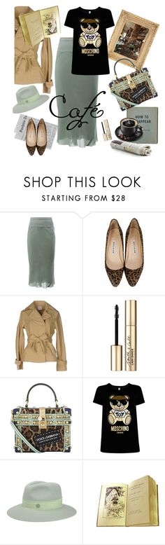 """Cafe Pushkin, Moscow"" by ms-wednesday-addams ❤ liked on Polyvore featuring Rick Owens, Manolo Blahnik, Nolita, Smith & Cult, WALL, Dolce&Gabbana, Moschino and Maison Michel"