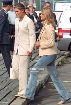 2001.   Crown Princess Victoria & Princess Madelene Of Sweden Take A Boat Trip Around Oslo Prior To The Wedding Of Crown Prince Haakon & Mette-Marit.