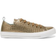Converse Metallic croc-effect leather sneakers (€50) ❤ liked on Polyvore featuring shoes, sneakers, gold, converse shoes, converse trainers, leather shoes, crocodile leather shoes and converse sneakers