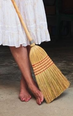 Sweeping barefoot
