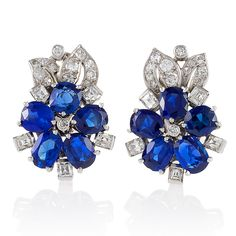 Retro Diamond, Blue Sapphire and Platinum Flower Earrings
