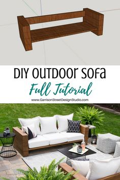 DIY Outdoor Sofa Full Tutorial| ©️GarrisonStreetDesignStudio | Outdoor Furniture | DIY | Wood | Rustic | Modern | Easy | Ideas | Cushions | Cheap | Comfortable | On a Budget | Lounge | Restoration Hardware Aspen Collection | Knockoff | Patio | Porch | Deck | Couch |Sofa | Build | Stain | Seating | Timbers | Lumber | Chunky | Backyard | Yard | Luxury | Affordable | Comfy | Railroad Ties |Tutorial | Bench | Patio Furniture | Summer | Outdoor Living | Outdoor Oasis | Outdoor Spaces