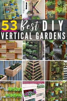 Spruce up your garden with these cheap and easy DIY garden ideas. From DIY planters to container gardening ideas, there are plenty of garden projects on a budget to choose from. Jardin Vertical Diy, Vertical Garden Planters, Vertical Vegetable Gardens, Vertical Garden Design, Fence Planters, Diy Planters, Vertical Bar, Indoor Planters, Fence Design