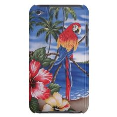 Tropical Island Beach Scene. Pretty and whimsical iPod Touch 4G cover. Beautiful and colorful red, orange, yellow and blue Macaw parrot and exotic landscape with palm trees, Hawaiian Hibiscus flowers, a sandy beach and ocean against a bright summer azure blue sky. For the lover of nature, wildlife, birds, animals and the tropics. Cute and fun birthday present or Christmas gift. Classy, chic and cool case. Also for iPod 5G, iPhone 3 4 5, Samsung Galaxy S2 S3 S4, iPad 2 3 4, Droid Razr, etc.