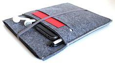 iPad mini Sleeve / iPad mini Case / iPad mini Cover / iPad mini Organizer - Charcoal Grey & White with Front Pocket - Grey Elastic Band