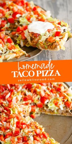 This easy homemade Taco Pizza is a family. This easy homemade Taco Pizza is a family friendly dinner recipe with delicious Mexican flavors topped with beef refried beans fresh vegetables and salsa. Taco Pizza Recipes, Mexican Food Recipes, Beef Recipes, Cooking Recipes, Chicken Recipes, Recipes With Refried Beans, Vegetable Pizza Recipes, Healthy Pizza Recipes, Pizza Flavors