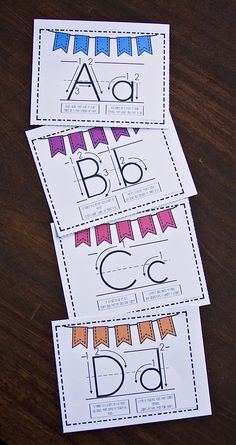 These poster printables are awesome for teaching letter formation!  They show both capital and lowercase and instructions for proper handwriting.  They even have a rhyme for each letter to remember how to write it!