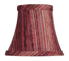 Livex Lighting Chandelier Shade Burgundy Striped Silk Bell Clip Shade S312