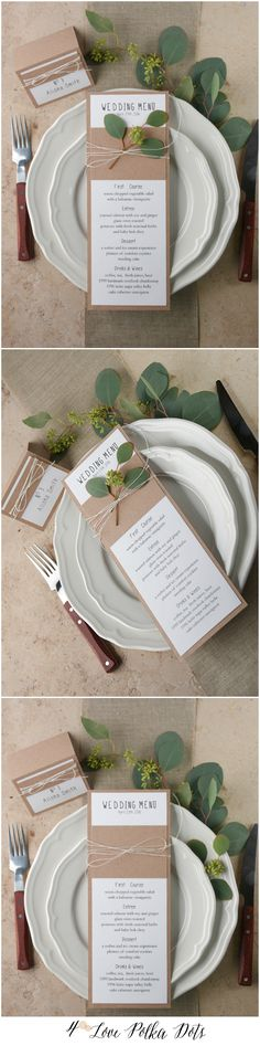 Eco Rustic Wedding Menu card #weddingstationery #weddingideas #green #greenery #rusticweddingideas #stationery #ecofriendly