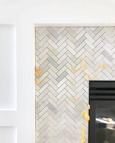 Carrara Marble Herringbone Tile On A Fireplace Surround Garden Frame Grey