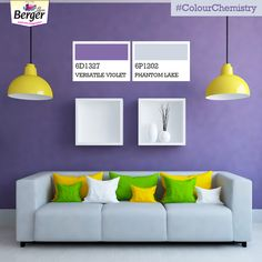 It is important for a living room to be cozy and inviting. Choose the lovely combination of violet and a pale lilac to achieve the perfect balance everyone will adore. #ColourChemistry