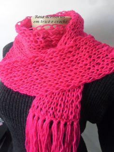 Rosa acessórios em tricô & crochê: Cachecol Pink knitting scarf knit