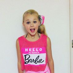 "Jojo siwa with ""hello my name is  Barbie"""