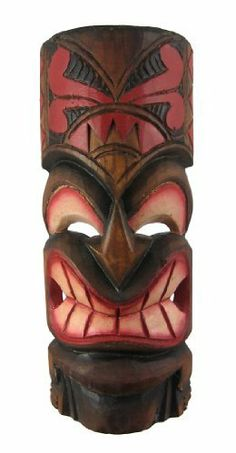 Hand Carved Painted Grimacing Tiki Wooden Wall Mask by Things2Die4. $14.99. This awesome looking tiki wall mask, with a menacing grimace on his face, is hand-carved from Indonesian Albessia wood, and hand-painted with red and orange paints to show off the detail. Measuring 11 inches tall, 4 inches at its widest and 2 inches deep, it looks great on walls in patios, living rooms, offices, bedrooms, even in kitchens.