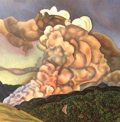 Rita Angus (New Zealand, 1908-1970), Scrub Burning, Northern Hawke's Bay, 1965. Oil on board, 23.5 x 23.5 in. Auckland Art Gallery.