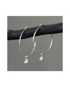 Diamond Drop Hoops - JewelMint