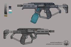 ArtStation - Quick Sci-Fi SMG, Wouter Kroon Sci Fi Weapons, Concept Weapons, Weapons Guns, Dinosaur Drawing, Future Weapons, Military Equipment, Shotgun, Great Britain, Cyberpunk