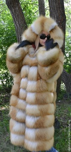 golden fox fur hooded coat