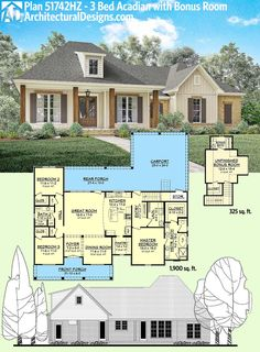 Architectural Designs Acadian House Plan gives you square feet on the main floor and a bonus room giving you a bedroom and 352 square feet over the garage. Where do YOU want to build? Like the front of this house Acadian Homes, Acadian House Plans, New House Plans, Dream House Plans, My Dream Home, French Country House Plans, 2200 Sq Ft House Plans, Home Plans, House Plans One Story