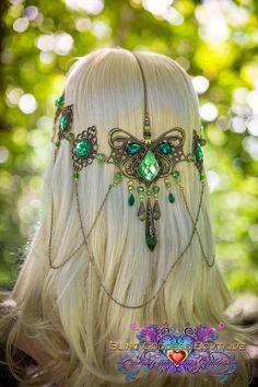Etsy の Emerald Goddess Circlet by BlingGoddessBoutique