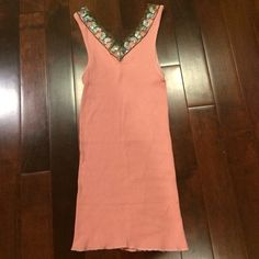JET long pink ribbed sequin butterfly tank top In great condition! Only worn a couple times. Tag says one size fits all, but fits like a xs/small. JET Tops Tank Tops
