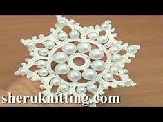 Crochet Snowflake Ornament With Beads Tutorial 19 - YouTube