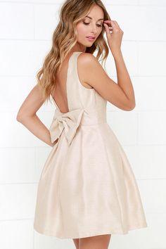 Bow Me a Kiss Beige Backless Dress at Lulus.com!