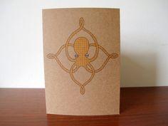 Art Nouveau Polka Dot Octopus 5 x 7 Kraft by SchoonerHouse on Etsy