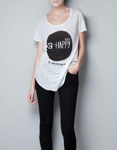 LINEN T-SHIRT WITH PRINT - T-shirts - Woman - ZARA Romania