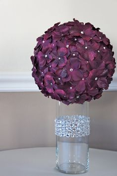 1 Plum Purple Crystal Hydrangea Flower Ball by CrystallizedDesign, $46.00