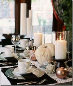 This Contemporary Thanksgiving Table Setting Via Hgtv Showcases A White Pumpkin Chunky Pillar Candles And