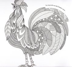 Animaux fantastiques Rooster Abstract Doodle Zentangle Coloring pages colouring adult detailed advanced printable Kleuren voor volwassenen coloriage pour adulte anti-stress kleurplaat voor volwassenen