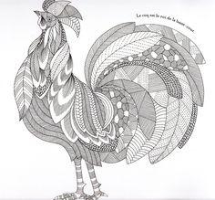 Animaux fantastiques Rooster Abstract Doodle Zentangle Coloring pages colouring adult detailed advanced printable Kleuren voor volwassenen coloriage pour adulte anti-stress kleurplaat voor volwassenen