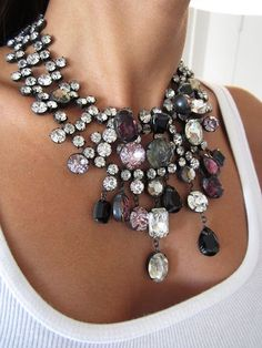 Stunning silver bling necklace.Lovely jewels, fashion accessories, More bling here: http://mylusciouslife.com/photo-galleries/bling-fling/