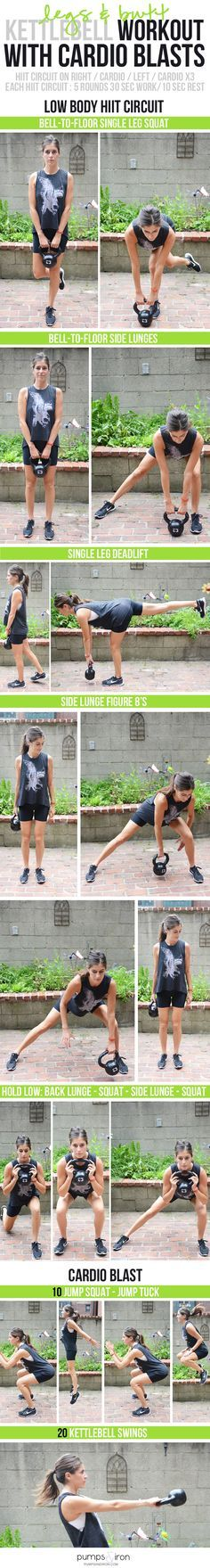 Butt & Legs Kettlebell Workout with Cardio - awesome lower body workout (and great for strengthening your back!) #GorillaGlass #sponsored