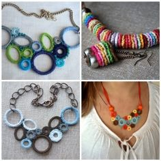 """""""I started crocheting loops in different colors and sizes. And putting them together. """"Wow, that looks nice"""", I'd think to myself. """"I think I'll make a necklace"""". Then I started crocheting oval shapes, again in different colors. Then I'd combine my loops and ovals and different findings, gemstones, chains, etc."""""""