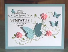 stampin up dies cards | Butterflies Sympathy Card Stampin Up Thanks for by WhimsyArtCards
