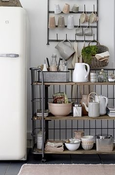 Get inspired with these Minimal Kitchen Counter Decor Ideas that are inspired by the Scandinavian design trend , all featuring beautiful color schemes and décor choices. Kitchen Cart, Kitchen Dining, Kitchen Decor, Decorating Kitchen, Kitchen Flooring, Kitchen Utensils, Kitchen Towels, Kitchen Storage, Sweet Home