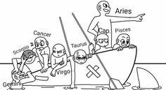 Zodiac Signs Astrology, Zodiac Art, Zodiac Star Signs, Zodiac Horoscope, Aries Zodiac, Draw The Squad, Draw The Otp, Zodiac Funny, Zodiac Memes