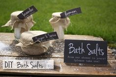 DIY Bath Salts - This would make a perfect favor or gift for a shower - FREE printable sign, tags and recipes too! #bridalshowerfavor #weddingfavor #favor