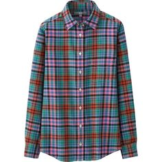 UNIQLO Women Flannel Check Long Sleeve Shirt ($15) ❤ liked on Polyvore featuring tops, blue, long sleeve tops, uniqlo, checked shirt, slim fit long sleeve shirts et slim shirt