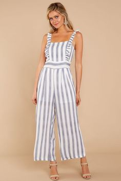 067ab92705 Be Good At It Grey Striped Jumpsuit