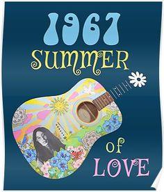 1967 Summer of Love Hippie T-shirt Poster