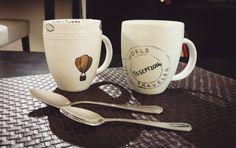 Set of 2 Travel-themed Coffee Mugs  Passport & Hot Air Balloon by CopilotCreations #dinnerware #sharpie #travel #traveler #wander #wanderlust #home #dining #coffee #mug