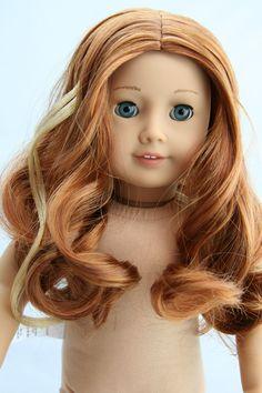 """Anna"" American Girl Doll - Custom OOAK Frozen Inspired - JLY #61 red hair wig plus light blonde strip, with Marie Grace's aqua blue eyes! | eBay"