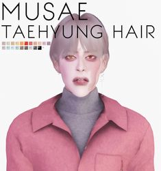 """effiethejay: """" Taehyung Hair for *new mesh* mesh by me Original texture by Maysims / Retexture by me 21 swatches / Hat compatible (I don't recommend. little texture glitch on back when you wear a. Asian Hair Sims 4, Sims 4 Hair Male, Sims Hair, Male Hair, Sims 4 Cas, My Sims, Sims Cc, Jungkook Hairstyle, The Sims 4 Cabelos"""