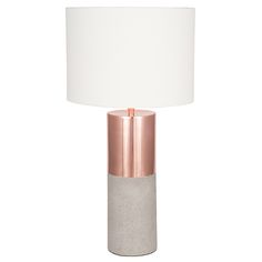 Metal and Concrete Table Lamp with Handloom White Shade, Copper | Lighting | Accessories
